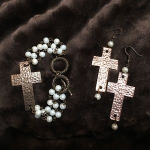 Copper-Colored Cross and Pearls Bracelet, Earrings